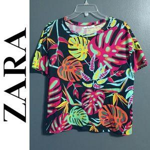 Zara Trafaluc Tropical Colorful Short Sleeve Top